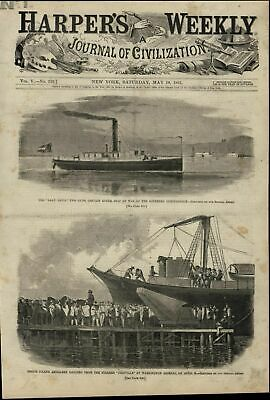 Confederate Warship Artillery Landing Steamer 1861 great old print for display