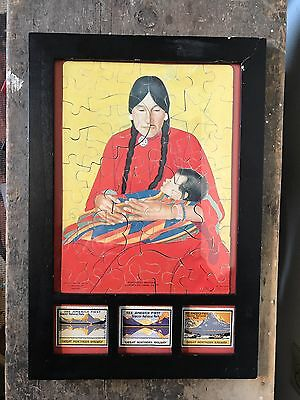 Great Northern Railroad Native American Indian Picture Puzzle Poster Stamps