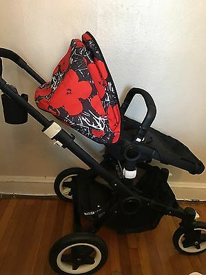 Bugaboo Buffalo ALL BLACK frame w/ Andy Warhol Red Poppy Canopy