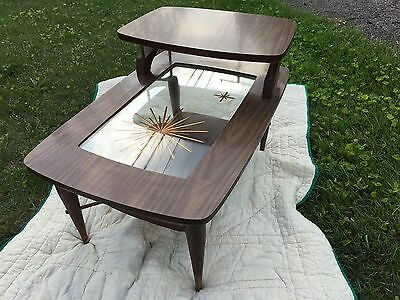 mid century modern two tier Wood side table