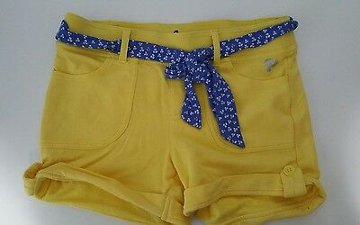 Triple Flip Yellow Shorts Fits 10/12 Girls stretchy cotton blend blue belt