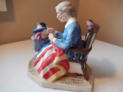 "Norman Rockwell MENDING THE FLAG  (6"" T x 5.5"" L x 3.5"" W) NR Collectors Club"