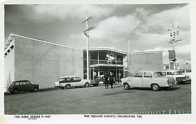 vintage postcard real photo squash Courts Frankston Victoria Australia old cars