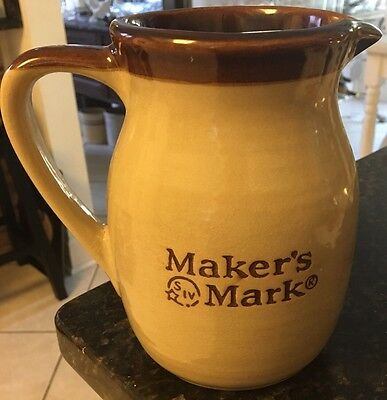 Vintage Makers Mark Bourbon Whiskey Pottery Pitcher