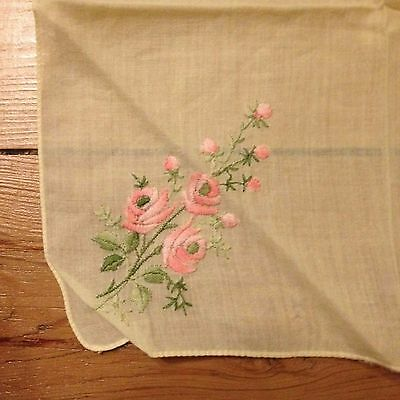 Vintage Embroidered Yellow Handkerchief - Pink Flower Motif