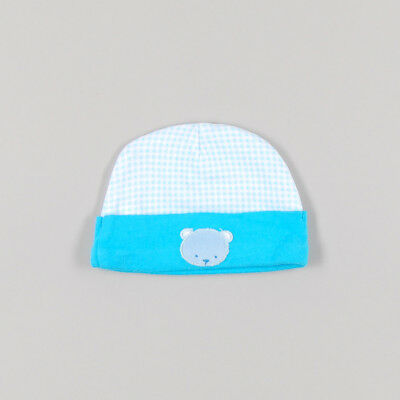 Gorrito de cuadros con oso de color Azul de marca Item international 0 Meses