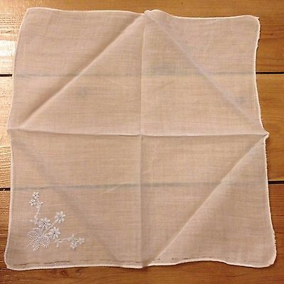 Vintage Embroidered Handkerchief - Light Blue Flower Design