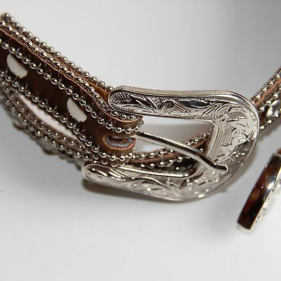 Girls Western Belt - Brown with Rhinestone Accents - 35.5 inch