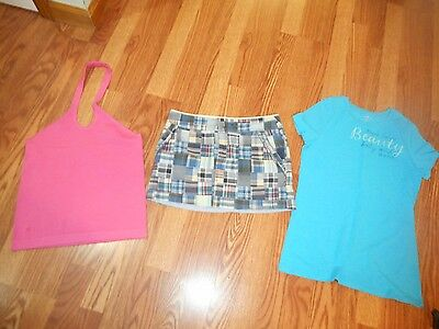 Lot 3 American Eagle Skirt Old Navy Blue Tee Lilly Pulitzer Pink Halter Top Sz S