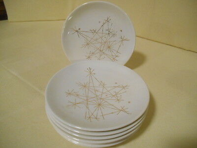 "Rare MCM Set of 8 Royal China ""STAR"" Pattern Atomic Starburst Gold Bread Plates"