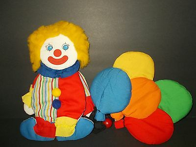 Vintage 80's Circus Clown w/ Balloons Wall Hanging Decorative 1985 Wooltex Soft