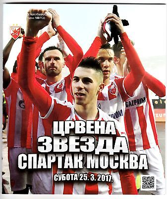 2017, RED STAR Serbia V SPARTAK MOSKVA Russia ! OFFICIAL PROGRAMME ! MINT !