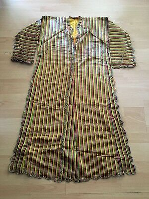 Antique Turkish Hand Embroidered On Hand Woven Silk Robe Anteri For Women-5