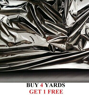 Heavy High Gloss Black PVC Shiny Stretch Dress Leatherette Fabric Material 60""