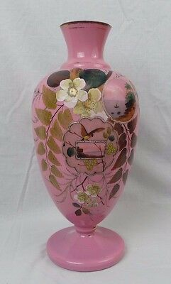Art Glass Hand Painted Pink Opaline Vase French Numbered 5