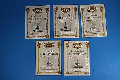 5 Wine Labels - 2005 Le Chevalier WHITTINGHAM Bordeaux France