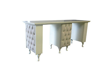 Double Manicure Desk - French Style Shabby Chic - supplied with glass top