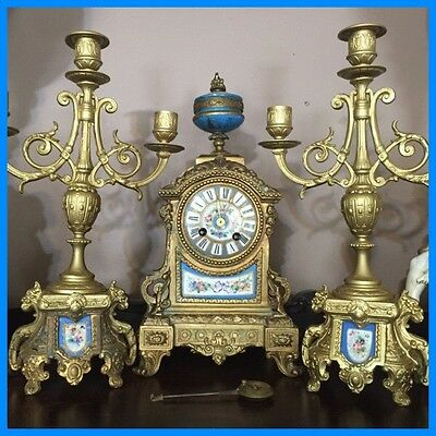 Antique French PH MOUREY Sevres Gilded Japy Freres Mantle Clock & Candelabras