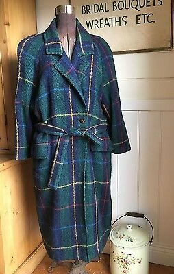 1980's VINTAGE JOUSSE PARIS CHECK WOOL LONG COAT MADE IN FRANCE