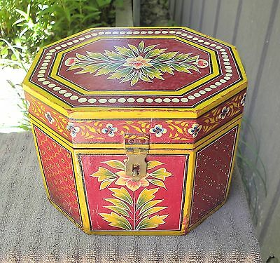 Vintage Folk Art Wooden Toleware Hinged Box Hand Painted with Flowers