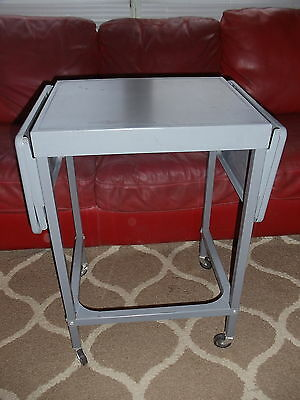 Vintage Metal Typewriter Table Desk Cart Locking Wheels Folding Sides Industrial