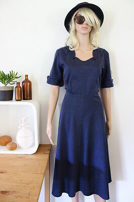 Genuine vintage dress real retro 1940's blue clinched waist 50's cotton sml med