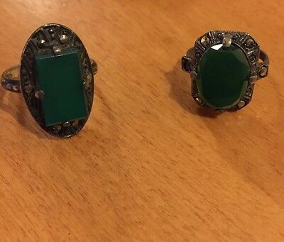 Two Sterling Vintage Antique Rings Marcasite Green Stones Early To Mid Century