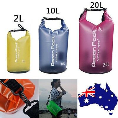 Kayaking 2/10/20L Sports PVC Dry Bag Backpack Pouch Floating Boating Swimming AU