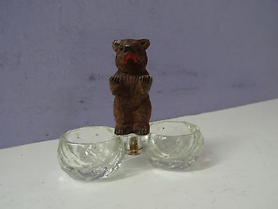 Antique Black Forest Hand Carved Bear with Double Open Salt GLASS &, Wood