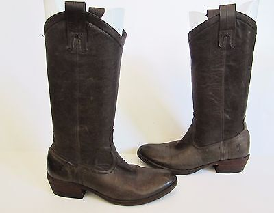 9ab4c68f482 FRYE WOMENS CARSON Pull On Leather Western Boots Smoke Brown 77686 6