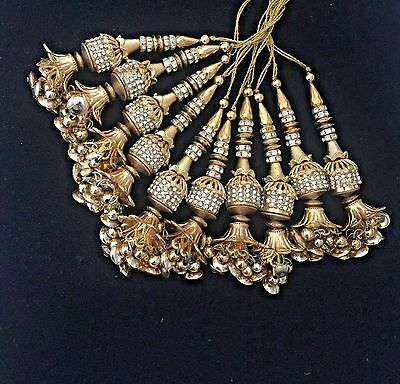 1 Pair of Blouse Lengha Latkans Diamonte Gold Bead Zircon  Decorative Tassels