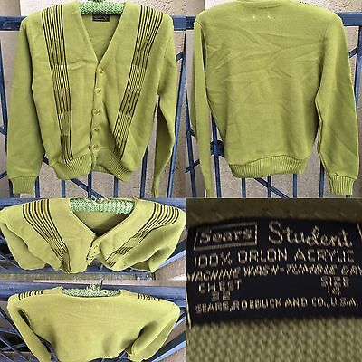 Vintage Cardigan Sweater Sears Student Chest 32 Size 14 Grunge Beatnick Hipster