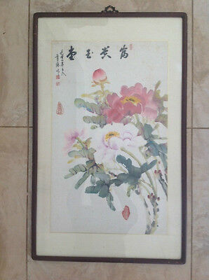 VINTAGE CHINESE MAGNOLIAS PAINTING w/ CALLIGRAPHY & CHOP MARKS 905mm x 555mm