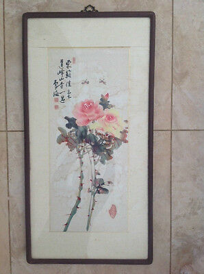 VINTAGE CHINESE THORNY ROSES PAINTING w/ CALLIGRAPHY & CHOP MARKS 905mm x 465mm