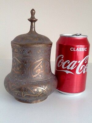 Antique Islamic Large Brass Inlaid Middle Eastern Lidded Container