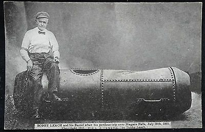 Old Postcard - Bobby Leach And His Barrel After Trip Over Niagra Falls - 1911