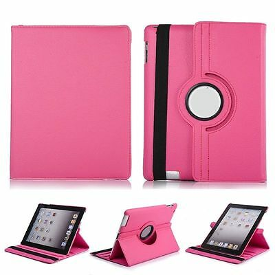 360 Rotating Stand Magnetic Leather Case Cover For iPad2/3/4-Pink {a46