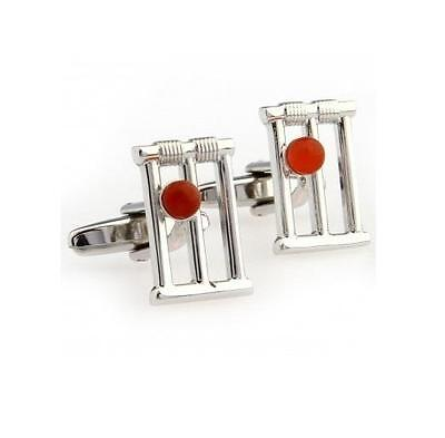 Silver Plated Cufflinks - Cricket Stumps & Ball - Gift Bag - Free Uk P&p...w1535