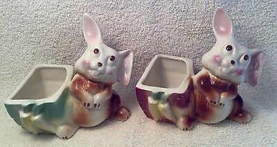 Vintage Ceramic Bunnies With Carrot Baskets Planters-Set Of  Two