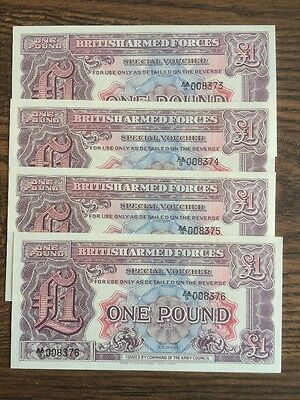 Set Of 4 British Armed Forces One Pound Banknote Pick M22 1948