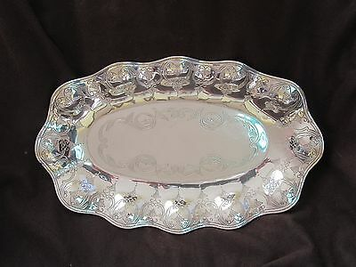 """Sanborns Mexico 925 Sterling Silver Oval Scalloped Bread Tray / Bowl  13"""" x 8"""""""