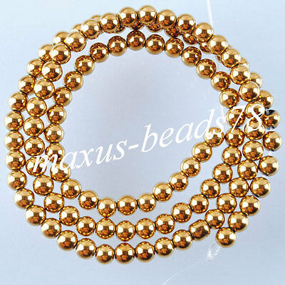Gold Hematite Gemstones 4mm Round Loose Beads Spacer 15.5 inches Strand MG1012