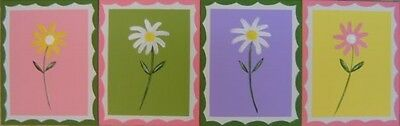 Nursery Girls Kids Canvas Wall Art Painting Flower Daisy Pink Yellow Green src12