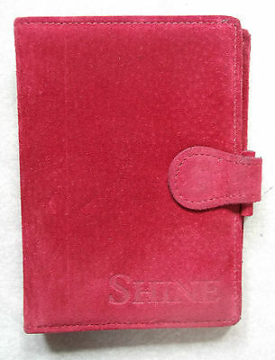 Red Suede Leather Pocket Size File London Organiser Wallet Diary Cards New