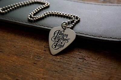 Handmade Etched Nickel Silver Allman Brothers Band Guitar Pick Necklace -Charity