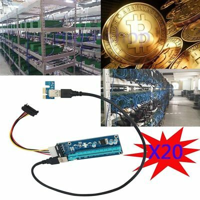 20PCS USB3.0 PCI-E Express 1x 16x Extender Riser Card Adapter Cable For Bitcoin