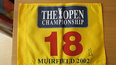 """British Open 2002 18th Hole pin flag Signed by Winner """"ERNIE ELS """" (PROOF & COA)"""