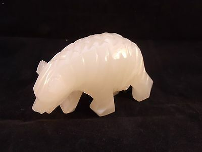 """White Marble Alabaster  Hand Carved Polar Bear Figurine Statue 6"""" L x 3.5"""" T"""