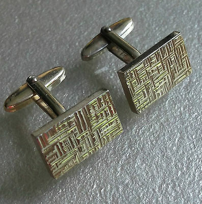 Quality Vintage Cufflinks 1960's 1970's Goldtone Metal Retro Mod Textured Design