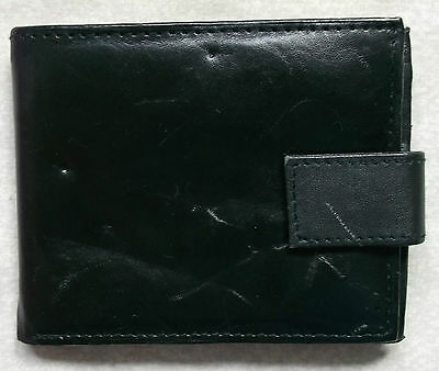 Vintage Real Leather Mens Wallet 1990's Black Zipped Coin Pocket